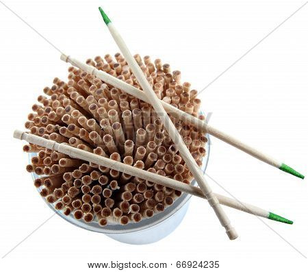 Disposable Wood Toothpick With Green Mint, Isolated On White Background