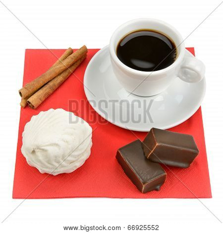 Cup Of Coffee And Sweets Isolated On White Background