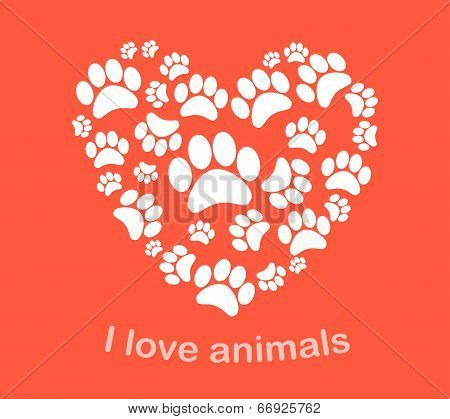 Heart animal's footprints vector illustration. Print