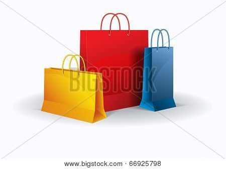 Shopping bags on white. Vector