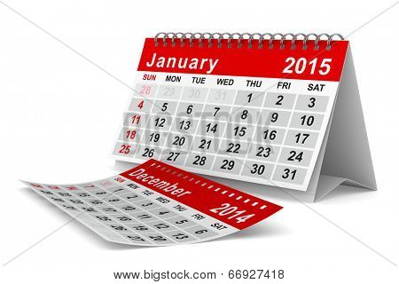 2015 year calendar. January. Isolated 3D image