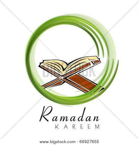Open religious book Quran Shareef in green circle on white background for holy month of Muslim community Ramadan Kareem.