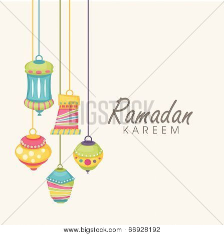 Colorful hanging lanterns on beige background, greeting card design for holy month of Muslim community Ramadan Kareem.
