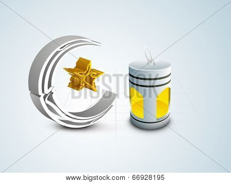 Arabic Islamic calligraphy of silver and golden text Ramadan Kareem in crescent moon and star shape with illuminated arabic lantern on blue background.
