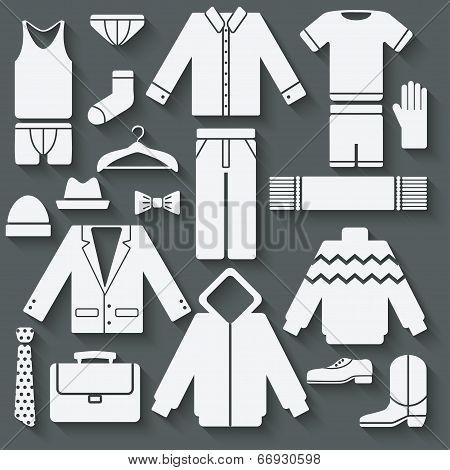Menswear icons set