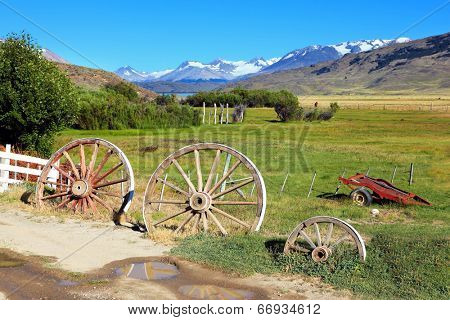 Scenic landscape in the Argentine Patagonia. Entry into solitary estancia in the National Park Perritaz Moreno