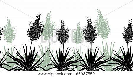 Flowers Yucca silhouette, horizontal seamless