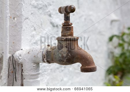 Old Brass Tap For Garden Watering