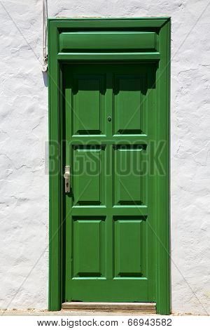 Spain  Piece Of Colorated  Door In Lanzarote