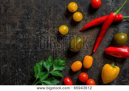 Top view of colorful and fresh vegetables