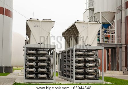 Biogas Generation Equipment Pipes. Gas From Sludge