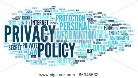 Privacy policy in word tag cloud on white background