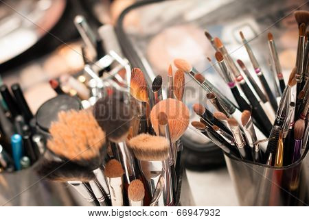 Set of professional make-up brushes