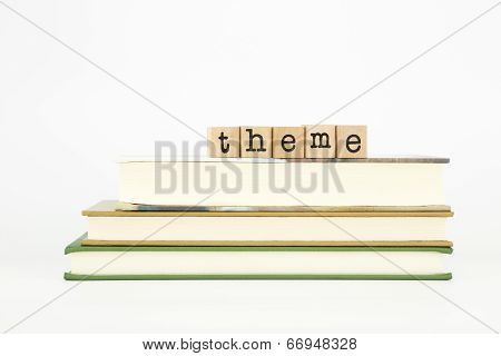 Theme Word On Wood Stamps And Books