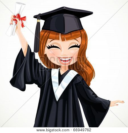 Diploma graduating happy girl