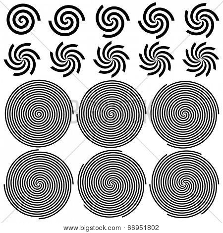Spirals Pattern Set. Vector Illustration