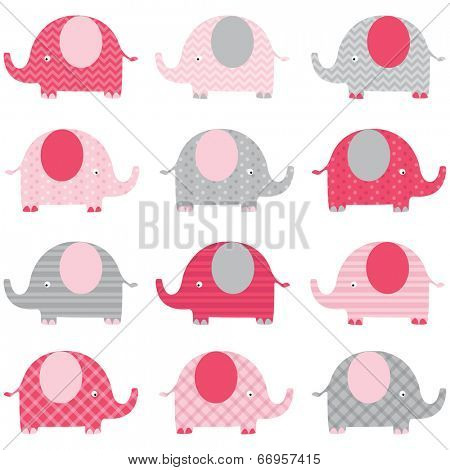 Baby Pink Cute Elephant pattern