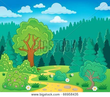 Spring theme landscape 9 - eps10 vector illustration.