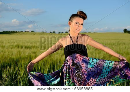 Young Girl In Green Fields