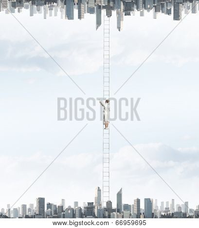 Businesswoman standing on ladder between two realities