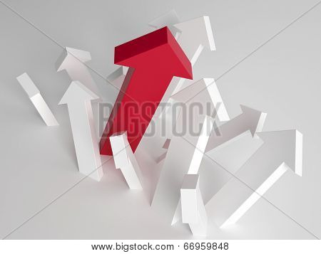 Single larger taller red arrow amongst white arrows pointing upwards in a concept of individuality, choices, success and growth
