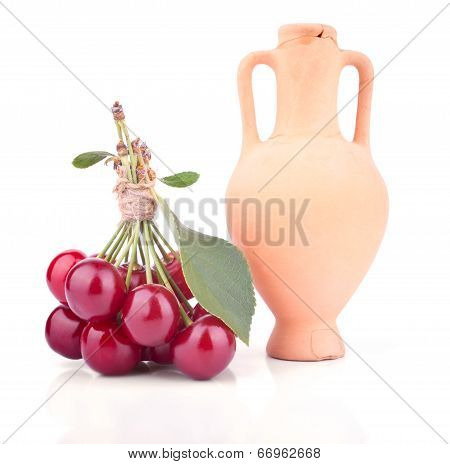 Bunch Of The Cherries With Amphora
