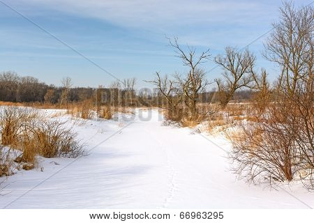 Snow Covered Creek In The Prairie