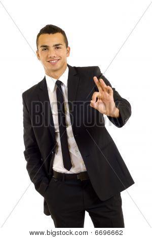 Businessman Giving Ok Gesture