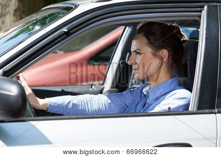 Angry Woman In A Traffic Jam