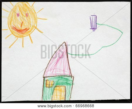 Original child's drawing of a green house under the sun drawing by a five-year-old girl.