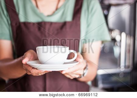 Barista Serving Freshly Brewed Coffee