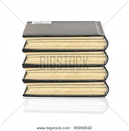 Black Hardcover Book On White Glossy Background