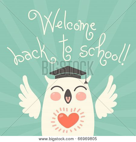 Welcome back to school. Card with an owl.