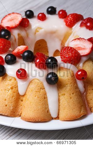 Delicious Fruitcake With Fresh Strawberries And Currants