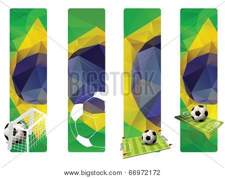 Set of Brazilian Flag concept color banners