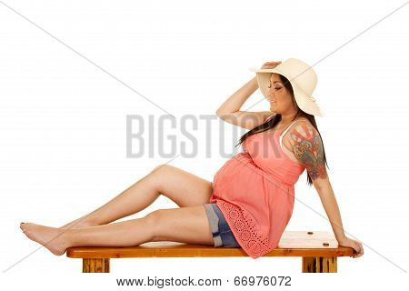 Woman Hat Tattoo Pink Shirt Sit Side