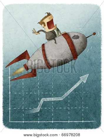 man in rocket flying over graph