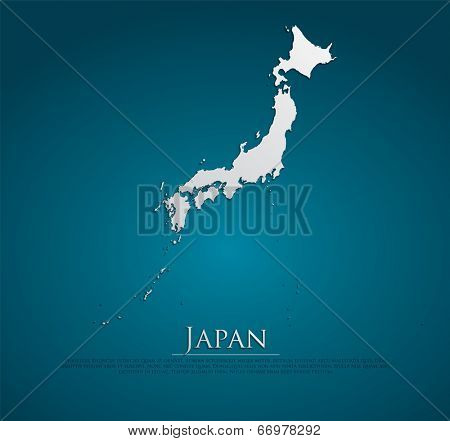 vector Japan Map card paper on blue background, high detailed