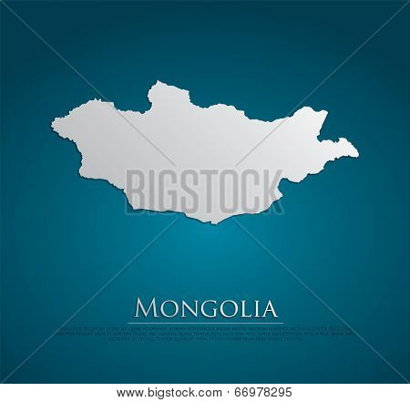 vector Mongolia Map card paper on blue background, high detailed