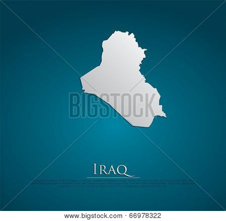 vector Iraq Map card paper on blue background, high detailed