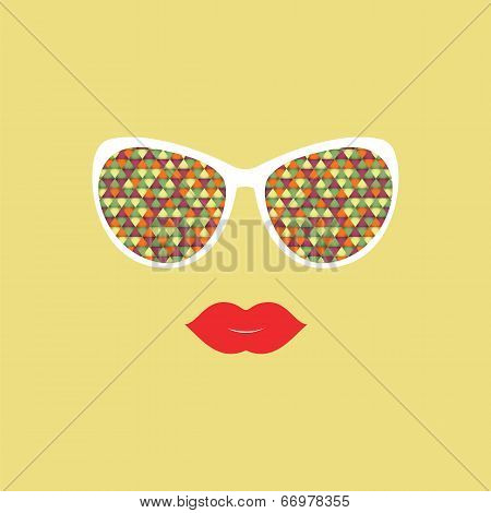 Sunglasses And Lips.  Vector Illustration.