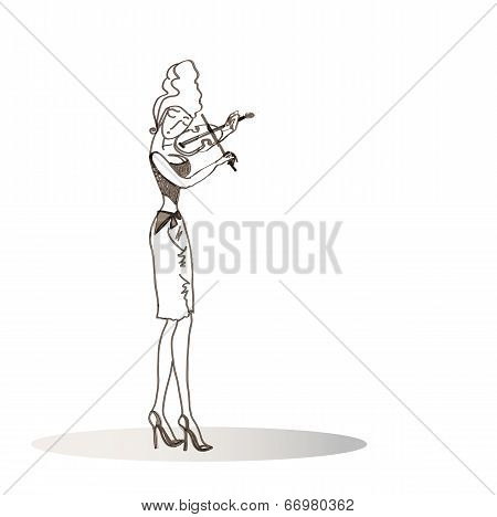 Girl Playing The Violin.