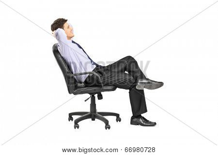 Relaxed man sitting in an office chair isolated on white background