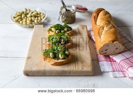 Bruschetta With Beans And Rocket