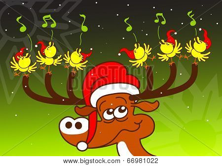 Singing chickens and deer performing a spectacle for Christmas