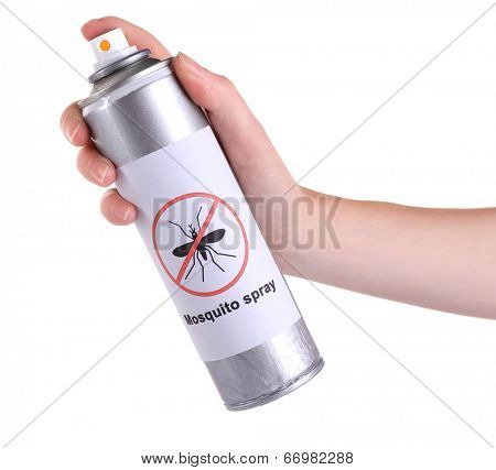Hand holding mosquito spray isolated on white