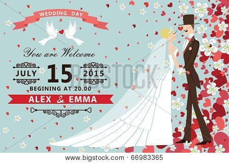 Bride And Groom On Hearts And Flowers Background,wedding Invitation