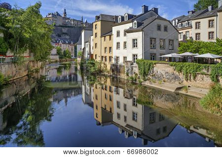 Old Houses Reflecting Alzette River