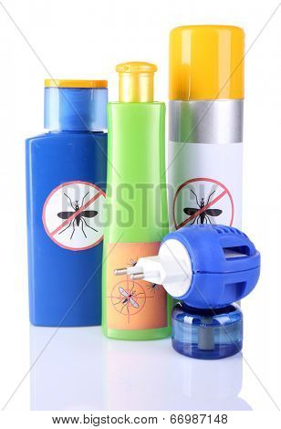 Bottles with mosquito repellent cream and fumigator, isolated on white