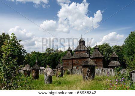 Resurrection Wooden Church With Apiary From Poltavshina Region ,ukraine,pirogovo,europe